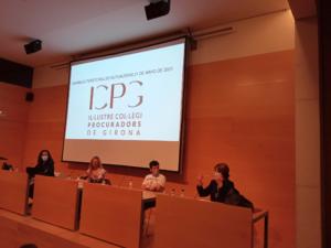 Reunió de l'Assemblea Territorial de Procuradors Mutualistes que va tenir lloc a Girona el 21/05/2021, presidida per la Sra. Carme Expósito.